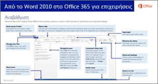 Μικρογραφία για τον οδηγό μετάβασης από το Word 2010 στο Office 365