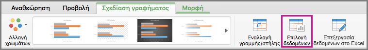Επιλογή δεδομένων γραφήματος στο Office για Mac
