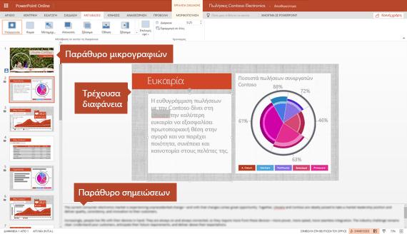 Προβολή επεξεργασίας στο PowerPoint online
