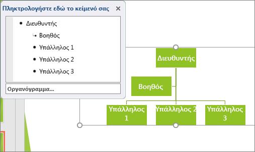 Εμφανίζει ένα παράδειγμα ενός οργανογράμματος SmartArt