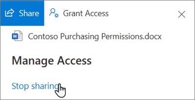 """Στιγμιότυπο οθόνης της σύνδεσης """"Διακοπή κοινής χρήσης"""" στο τμήμα παραθύρου """"διαχείριση πρόσβασης"""" στην προβολή """"κοινή χρήση με εμένα"""" στο OneDrive για επιχείρηση"""
