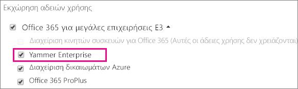 """Στιγμιότυπο οθόνης της ενότητας """"Εκχώρηση αδειών χρήσης"""" του κέντρου διαχείρισης Office 365 με άδεια χρήσης Yammer Enterprise διαθέσιμη για εκχώρηση."""