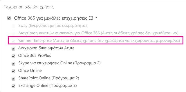 """Στιγμιότυπο οθόνης της ενότητας """"Εκχώρηση αδειών χρήσης"""" του κέντρου διαχείρισης Office 365 με επιλεγμένη άδεια χρήσης Yammer Enterprise."""