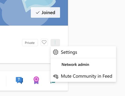 Στιγμιότυπο οθόνης που εμφανίζει τη σίγαση μιας Κοινότητας στο Yammer More Options Menu