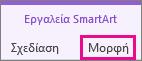 """Καρτέλα """"Μορφοποίηση"""" στην περιοχή """"Εργαλεία SmartArt"""""""
