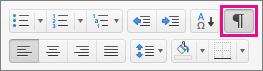 Κάντε κλικ στην επιλογή Εμφάνιση όλων των μη εκτυπώσιμων χαρακτήρων στην κεντρική καρτέλα για να εμφανίσετε τα σημάδια μορφοποίησης.