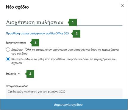 """Στιγμιότυπο οθόνης της νέας οργάνωση Σχεδιασμός παράθυρο διαλόγου που εμφανίζει επεξηγήσεις για 1 όνομα εισαχθεί """"Σωλήνωση πωλήσεων"""", 2 επιλογή """"Προσθήκη σε μια υπάρχουσα Office 365 ομάδας"""", 3 επιλογές προστασίας προσωπικών δεδομένων και 4 Επιλογές αναπτυσσόμενη λίστα."""