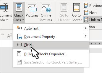 Μενού QuickParts με επισημασμένα πεδία