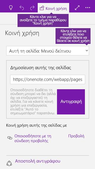 Στιγμιότυπο οθόνης της κοινής χρήσης μιας μεμονωμένης σελίδας ενός σημειωματαρίου στο OneNote