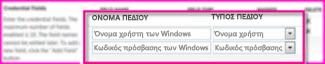 """Στιγμιότυπο οθόνης της ενότητας """"Πεδία διαπιστευτηρίων"""" από τη σελίδα ιδιοτήτων της εφαρμογής προορισμού ασφαλούς αποθήκευσης διαπιστευτηρίων. Αυτά τα πεδία σάς επιτρέπουν να καθορίσετε τα διαπιστευτήρια σύνδεσης για τον προορισμό"""