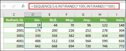 Παράδειγμα SEQUENCE ένθετης σε INT και RAND για τη δημιουργία ενός δείγματος συνόλου δεδομένων