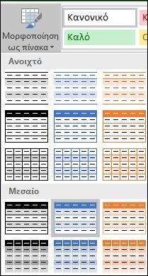 Επιλογές της συλλογής στυλ του Excel για μορφοποίηση ως πίνακα