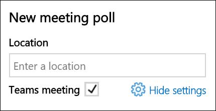 Μπορείτε να δείτε την προεπιλεγμένη υπηρεσία παροχής συσκέψεων κατά την προσθήκη μιας ψηφοφορίας FindTime.