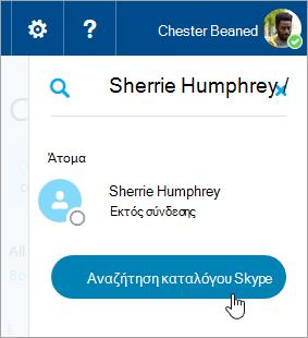 Ένα στιγμιότυπο οθόνης από το πλαίσιο αναζήτησης στο παράθυρο του Skype
