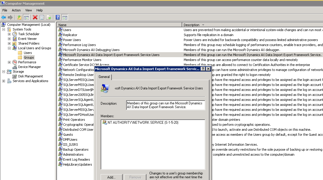 Dynamics AX Data Import Export Framework Service Users group