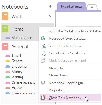 Μπορείτε να κλείσετε ένα σημειωματάριο αν δεν χρειάζεται να το χρησιμοποιείτε πλέον.