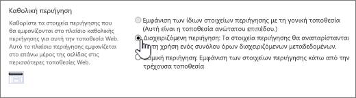 Ρυθμίσεις καθολικής περιήγησης με διαχειριζόμενη περιήγηση επιλεγμένο
