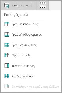 Επιλογές στυλ πίνακα Windows Mobile