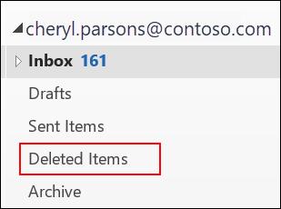"""Εάν βλέπετε το φάκελο """"Διαγραμμένα"""", μπορείτε να ανακτήσετε διαγραμμένα στοιχεία."""
