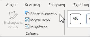 """Το κουμπί """"Αλλαγή σχήματος"""" στην καρτέλα μορφοποίηση των εργαλείων SmartArt"""