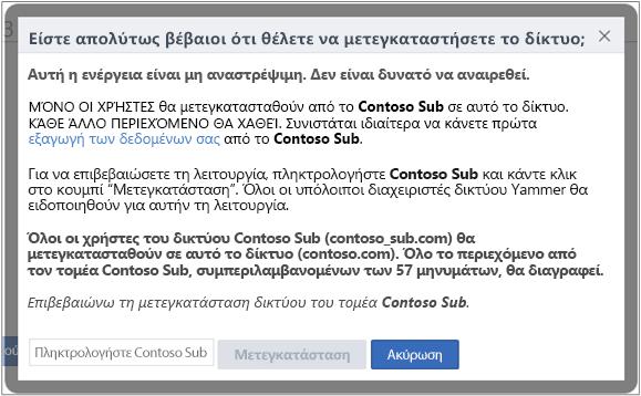 """Στιγμιότυπο οθόνης του παράθυρου διαλόγου """"Επιβεβαιώστε ότι θέλετε να μετεγκαταστήσετε ένα δίκτυο Yammer"""""""