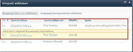 Ιστορικό εκδόσεων με διαγραμμένη την έκδοση 3.1
