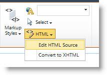 Εντολή 'Επεξεργασία προέλευσης HTML'