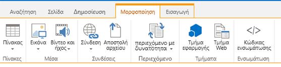 """Στιγμιότυπο οθόνης από την καρτέλα """"Εισαγωγή"""", που περιλαμβάνει κουμπιά για την εισαγωγή πινάκων, βίντεο, γραφικών και συνδέσεων στις σελίδες της τοποθεσίας σας"""
