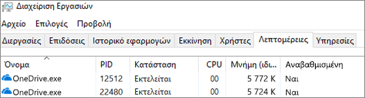 Στιγμιότυπο οθόνης της διαχείρισης εργασιών που εμφανίζει OneDrive.exe