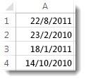Μη ταξινομημένες ημερομηνίες σε φύλλο εργασίας