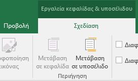 Τμήμα γραμμής εργαλείων σχεδίασης του Excel