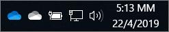 Εικονίδια του Προγράμματος-πελάτη συγχρονισμού OneDrive με μπλε και λευκά σύννεφα