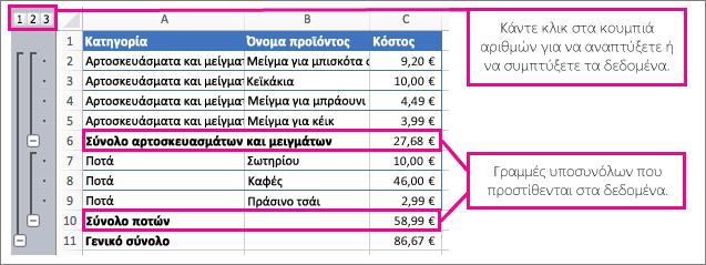 Παράδειγμα μερικών αθροισμάτων, που εμφανίζουν μερικά αθροίσματα και αριθμούς για να κάνετε κλικ για ανάπτυξη και σύμπτυξη δεδομένων