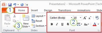 Ένα παράδειγμα της Κορδέλας του PowerPoint.Στοιχεία.