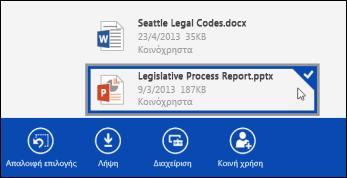 Επιλεγμένο αρχείο στο OneDrive για επιχειρήσεις