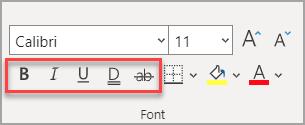 """Η ενότητα """"γραμματοσειρά"""" στην """"Κεντρική"""" καρτέλα, με τα εφέ να επισημαίνονται."""