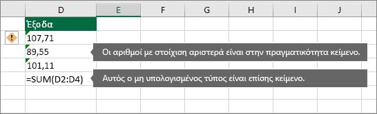 Κελιά με αριθμούς που είναι αποθηκευμένοι ως κείμενο με πράσινο τρίγωνα
