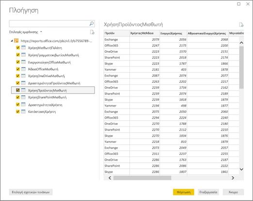 Στιγμιότυπο οθόνης των τιμών ODATA που είναι διαθέσιμες στο API αναφοράς