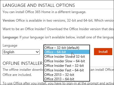 Στιγμιότυπο οθόνης της αναπτυσσόμενης λίστας για την εγκατάσταση μιας άλλης έκδοσης γλώσσας και της έκδοσης 64 bit του Office
