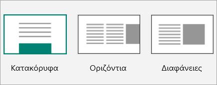 Στιγμιότυπο οθόνης με μικρογραφίες διατάξεων του Sway.