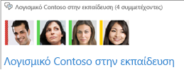 Στιγμιότυπο οθόνης της συλλογής φωτογραφιών των μελών στο επάνω μέρος του παραθύρου του καναλιού συνομιλίας
