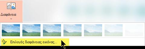 Οι επιλογές διαφάνειας εικόνας σάς επιτρέπουν να επιλέξετε ένα προσαρμοσμένο επίπεδο αδιαφάνειας για μια εικόνα