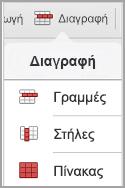 μενού Διαγραφή πίνακα iPad
