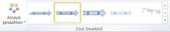 """Η ομάδα """"Στυλ SmartArt"""" της καρτέλας """"Σχεδίαση"""" στην περιοχή  """"Εργαλεία SmartArt"""""""