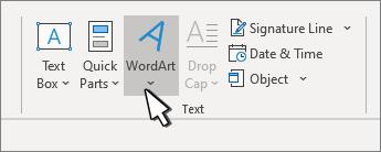 Εισαγωγή WordArt με το κουμπί WordArt