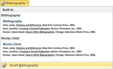 """Κάντε κλικ στην επιλογή """"Εισαγωγή βιβλιογραφίας"""""""