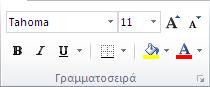 """Η ομάδα """"Γραμματοσειρά"""" στην """"Κεντρική"""" καρτέλα της Κορδέλας του Excel 2010."""