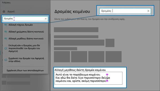 """Η σελίδα """"Ρυθμίσεις"""" για τον δρομέα κειμένου"""