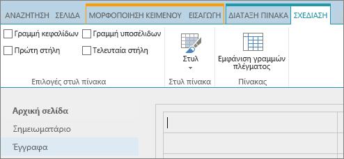 """Στιγμιότυπο οθόνης του SharePoint Online. Χρησιμοποιήστε την καρτέλα """"Σχεδίαση"""" για να επιλέξετε πλαίσια ελέγχου για τη γραμμή κεφαλίδων, τη γραμμή υποσέλιδου, την πρώτη στήλη και την τελευταία στήλη ενός πίνακα, καθώς και για να επιλέξετε από στυλ πίνακα και να υποδείξετε εάν ο πίνακας χρησιμοποιεί γραμμές πλέγματος."""