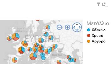 Εφαρμογή χρώματος σε απεικονίσεις χάρτη του Power View
